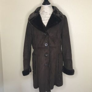 Faded Glory Size Med Brown Faux Fur Lined Jacket